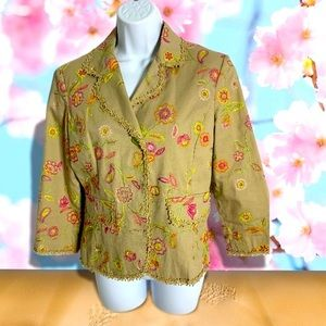 Silk land embroidered jacket with lace trim